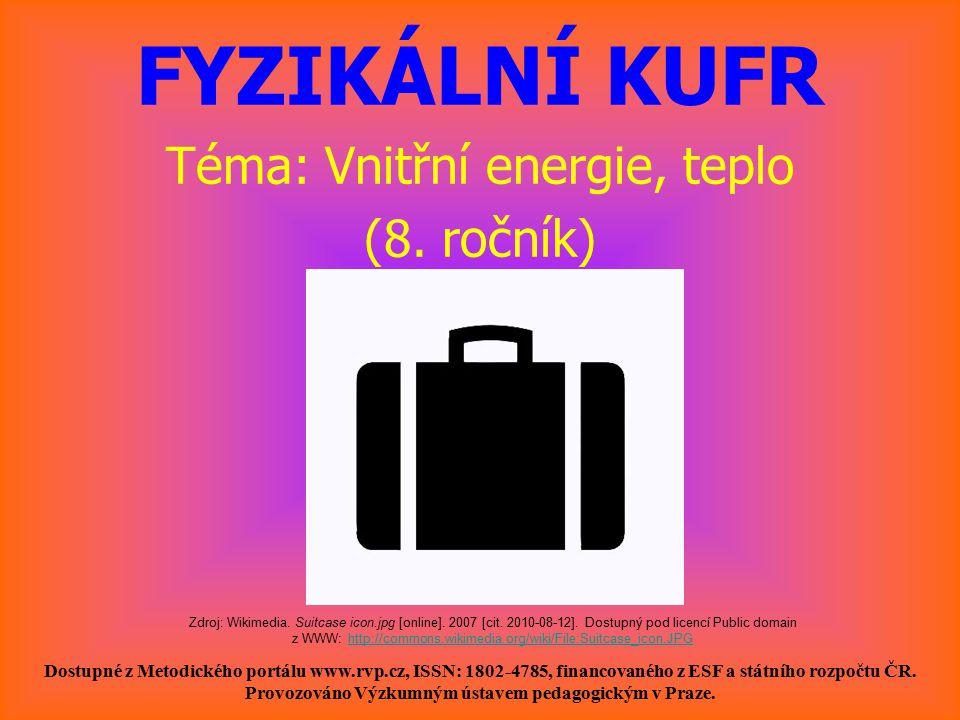 FYZIKÁLNÍ KUFR Téma: Vnitřní energie, teplo (8.