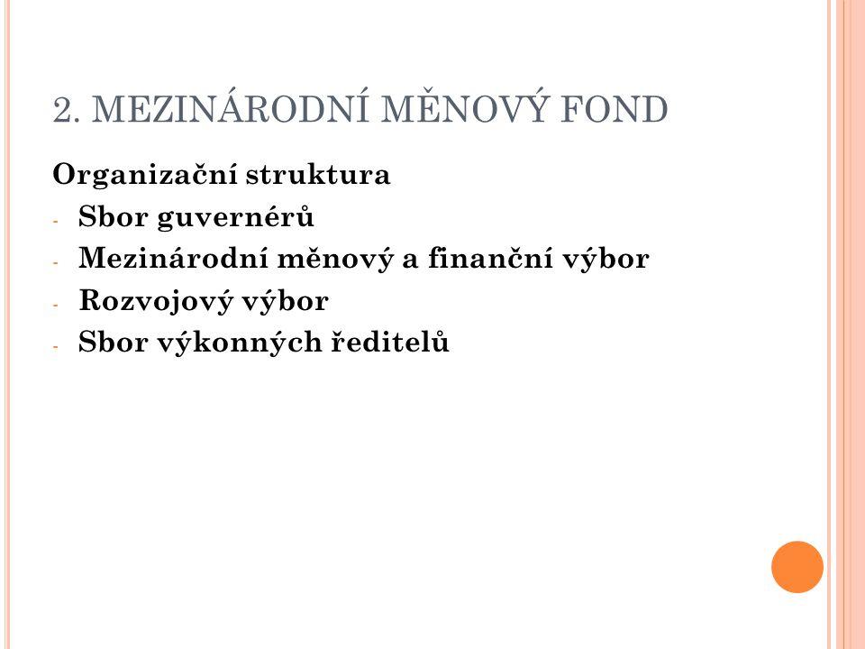 2. MEZINÁRODNÍ MĚNOVÝ FOND Organizační struktura - Sbor guvernérů - Mezinárodní měnový a finanční výbor - Rozvojový výbor - Sbor výkonných ředitelů