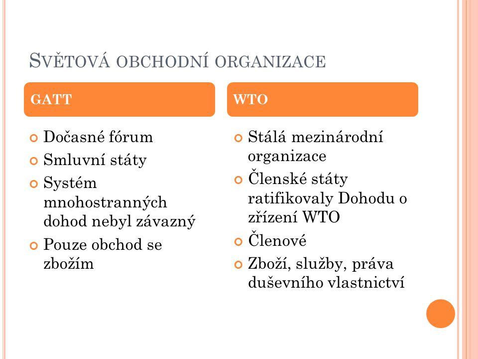S VĚTOVÁ OBCHODNÍ ORGANIZACE Dočasné fórum Smluvní státy Systém mnohostranných dohod nebyl závazný Pouze obchod se zbožím Stálá mezinárodní organizace
