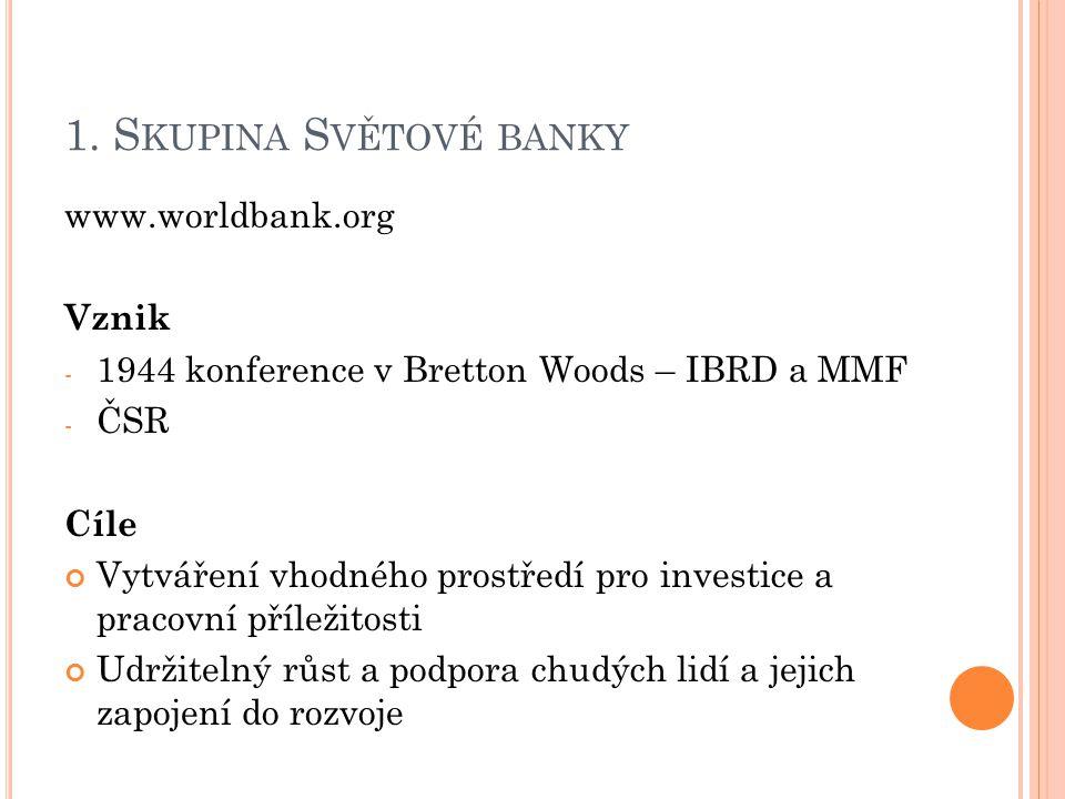 1. S KUPINA S VĚTOVÉ BANKY www.worldbank.org Vznik - 1944 konference v Bretton Woods – IBRD a MMF - ČSR Cíle Vytváření vhodného prostředí pro investic