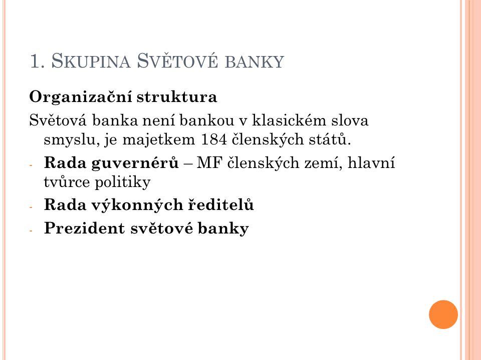 1. S KUPINA S VĚTOVÉ BANKY Organizační struktura Světová banka není bankou v klasickém slova smyslu, je majetkem 184 členských států. - Rada guvernérů