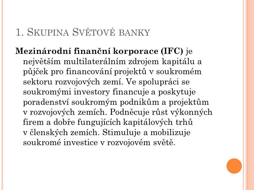 1. S KUPINA S VĚTOVÉ BANKY Mezinárodní finanční korporace (IFC) je největším multilaterálním zdrojem kapitálu a půjček pro financování projektů v souk