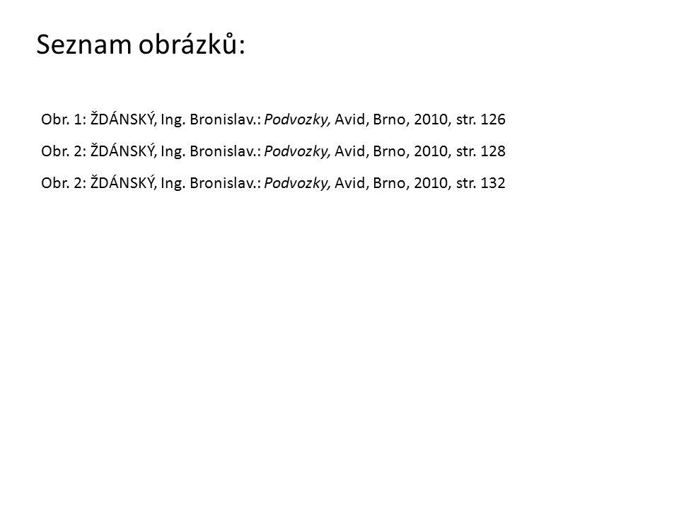Seznam obrázků: Obr.1: ŽDÁNSKÝ, Ing. Bronislav.: Podvozky, Avid, Brno, 2010, str.