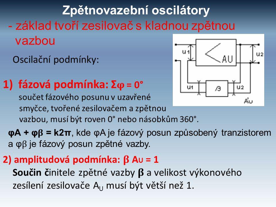 Zpětnovazební oscilátory - základ tvoří zesilovač s kladnou zpětnou vazbou Oscilační podmínky: 2) amplitudová podmínka: β A U = 1 Součin činitele zpět