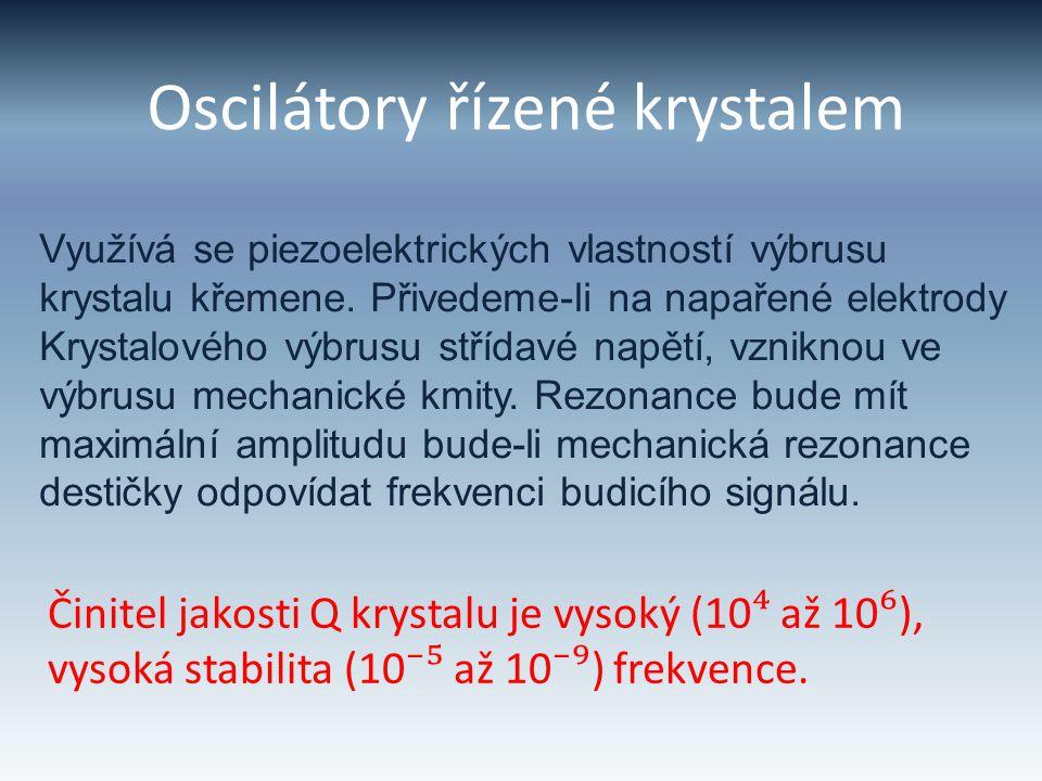 Piezoelektrický rezonátor - při sériové rezonanci je impedance nejnižší 2π √LC f S = 1 - při paralelní rezonanci je impedance největší L f P = 1 2π2π √ C C0C0 C+C 0