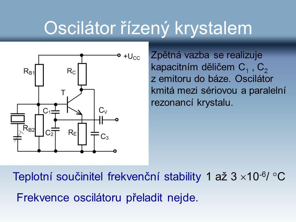 Oscilátor řízený krystalem Zpětná vazba se realizuje kapacitním děličem C 1, C 2 z emitoru do báze. Oscilátor kmitá mezi sériovou a paralelní rezonanc