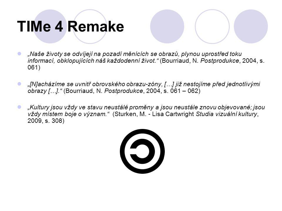 """TIMe 4 Remake """"Naše životy se odvíjejí na pozadí měnících se obrazů, plynou uprostřed toku informací, obklopujících náš každodenní život."""" (Bourriaud,"""
