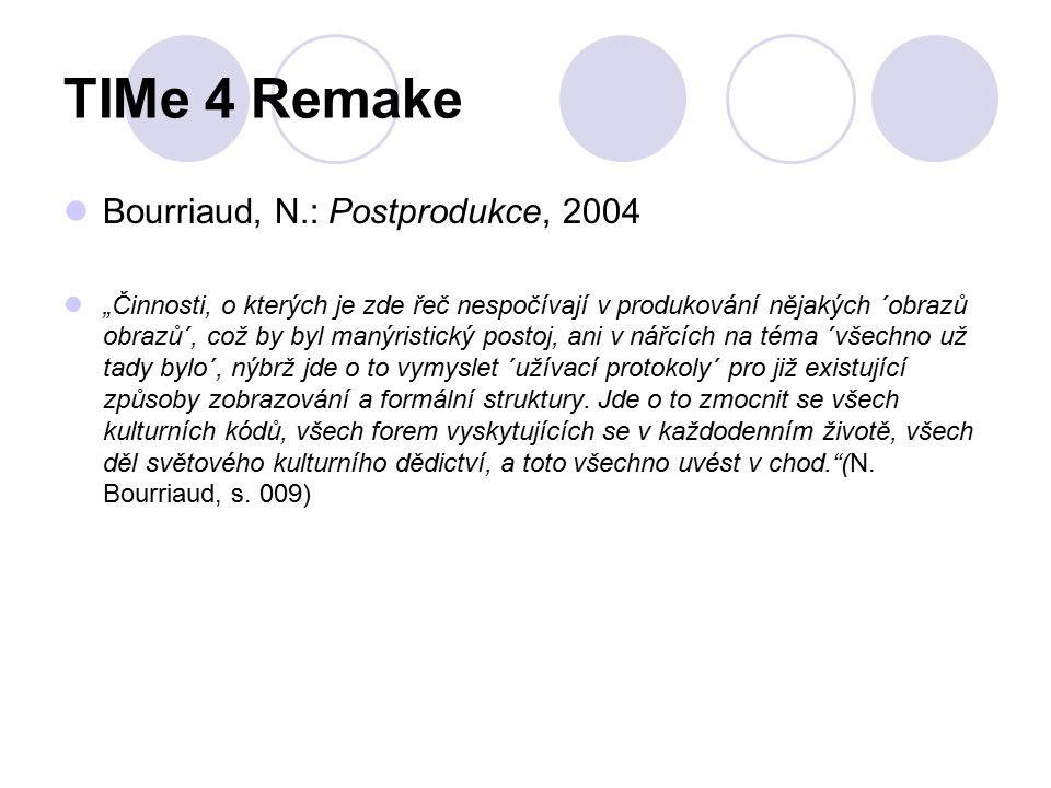 """TIMe 4 Remake Bourriaud, N.: Postprodukce, 2004 """"Činnosti, o kterých je zde řeč nespočívají v produkování nějakých ´obrazů obrazů´, což by byl manýristický postoj, ani v nářcích na téma ´všechno už tady bylo´, nýbrž jde o to vymyslet ´užívací protokoly´ pro již existující způsoby zobrazování a formální struktury."""