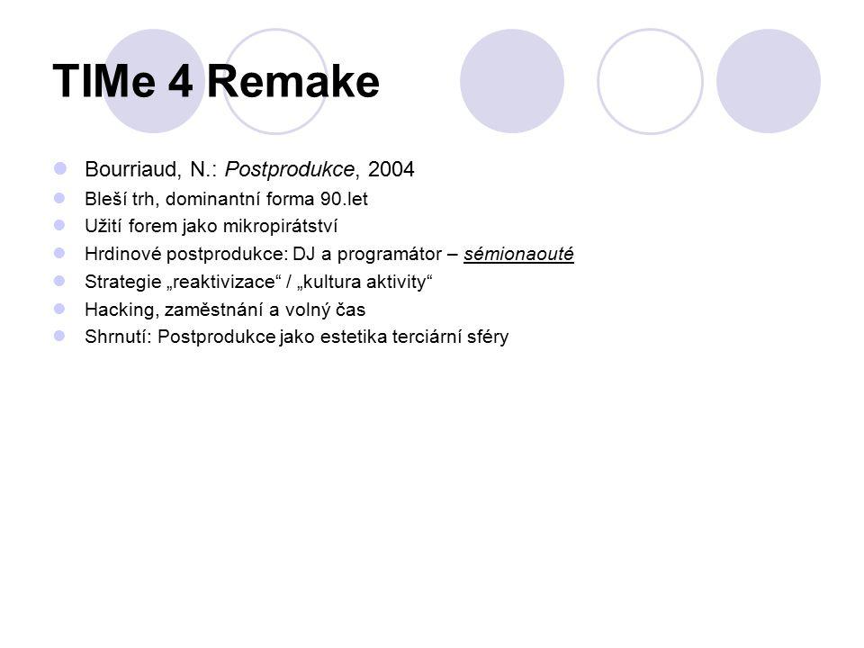 """TIMe 4 Remake Bourriaud, N.: Postprodukce, 2004 Bleší trh, dominantní forma 90.let Užití forem jako mikropirátství Hrdinové postprodukce: DJ a programátor – sémionaouté Strategie """"reaktivizace / """"kultura aktivity Hacking, zaměstnání a volný čas Shrnutí: Postprodukce jako estetika terciární sféry"""