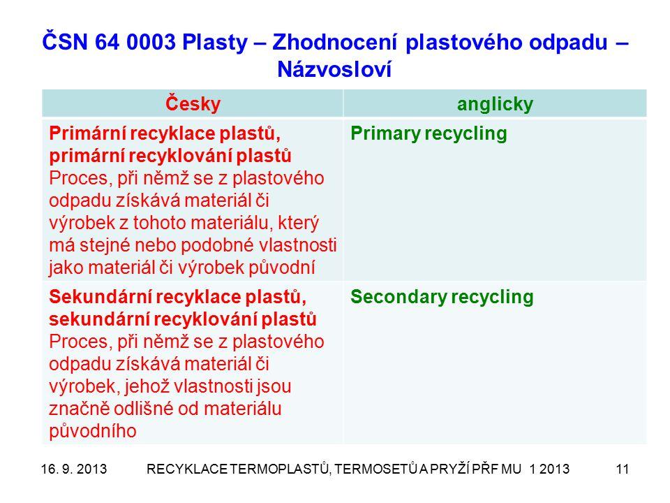 ČSN 64 0003 Plasty – Zhodnocení plastového odpadu – Názvosloví Českyanglicky Fyzikální recyklace plastů, fyzikální recyklování plastů Physical recycling Chemická recyklace plastů, chemické recyklování plastů, rekonstituce plastového odpadu Reconstitution of plastic waste, Chemical recycling – běžně se používá, ale není v této normě Surovinové zhodnocení plastů, přeměna plastového odpadu na suroviny, surovinové využití plastového odpadu Transformation of plastic waste into raw materials Energetické zhodnocení plastů, přeměna plastového odpadu na energii, energetické využití plastového odpadu Transformation of plastic waste into energy Recyklace VULKANIZÁTŮ 6 20131221.
