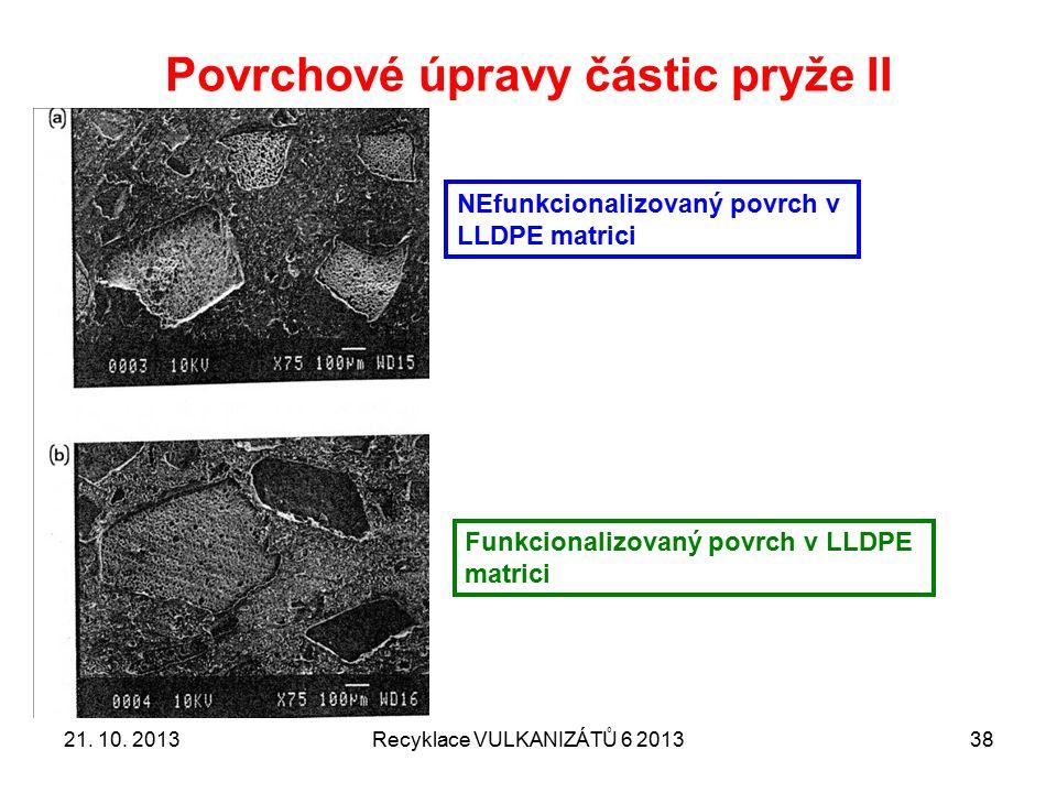 AKTIVACE POVRCHU částic namleté pryže 21. 10. 2013Recyklace VULKANIZÁTŮ 6 201339
