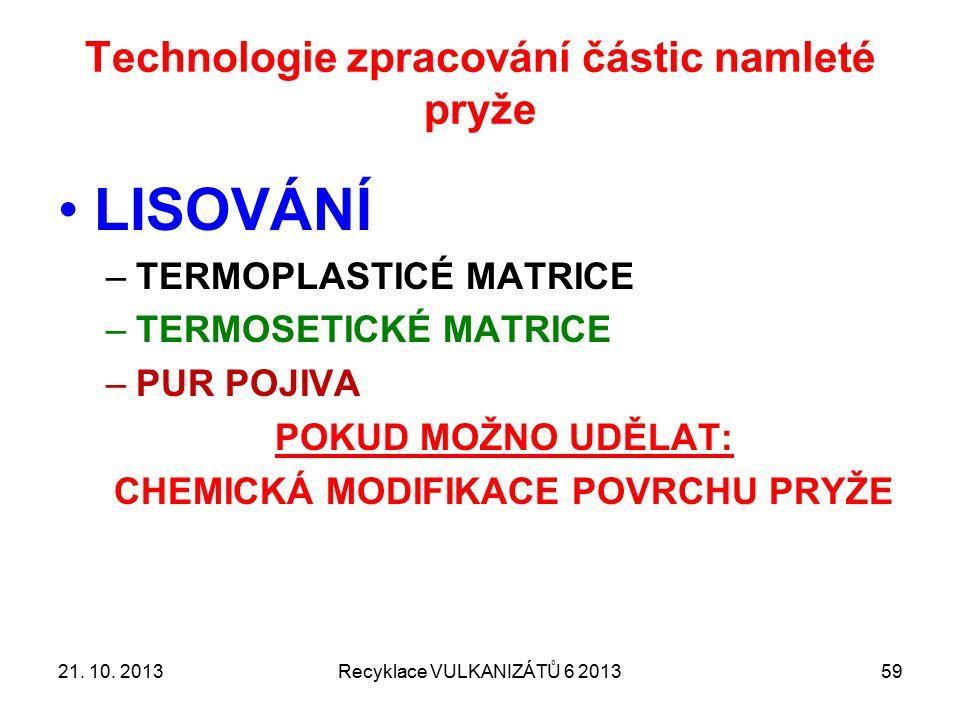 APLIKACE recyklované pryže Recyklace VULKANIZÁTŮ 6 20136021.