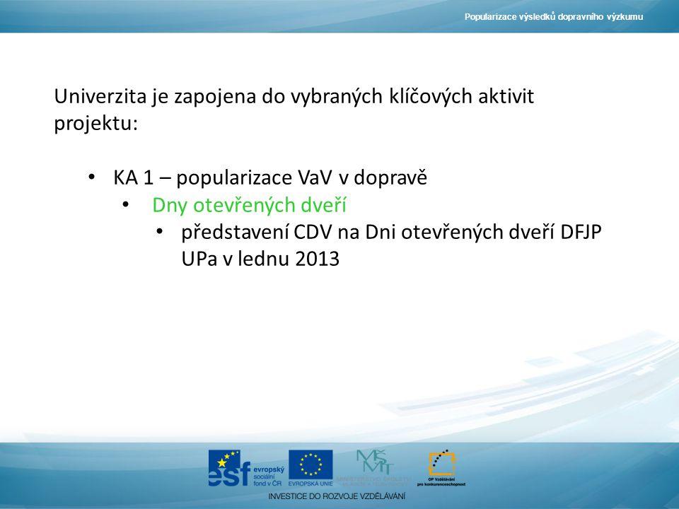 Popularizace výsledků dopravního výzkumu Univerzita je zapojena do vybraných klíčových aktivit projektu: KA 1 – popularizace VaV v dopravě Dny otevřených dveří představení CDV na Dni otevřených dveří DFJP UPa v lednu 2013