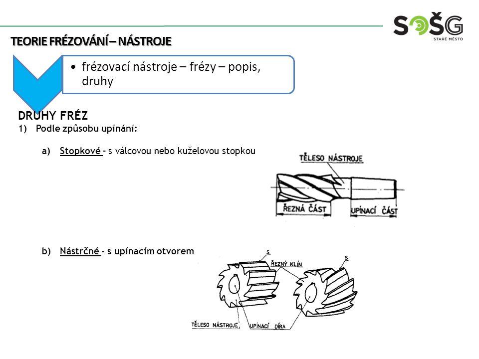 frézovací nástroje – frézy – popis, druhy DRUHY FRÉZ 1)Podle způsobu upínání: a)Stopkové – s válcovou nebo kuželovou stopkou b)Nástrčné - s upínacím o