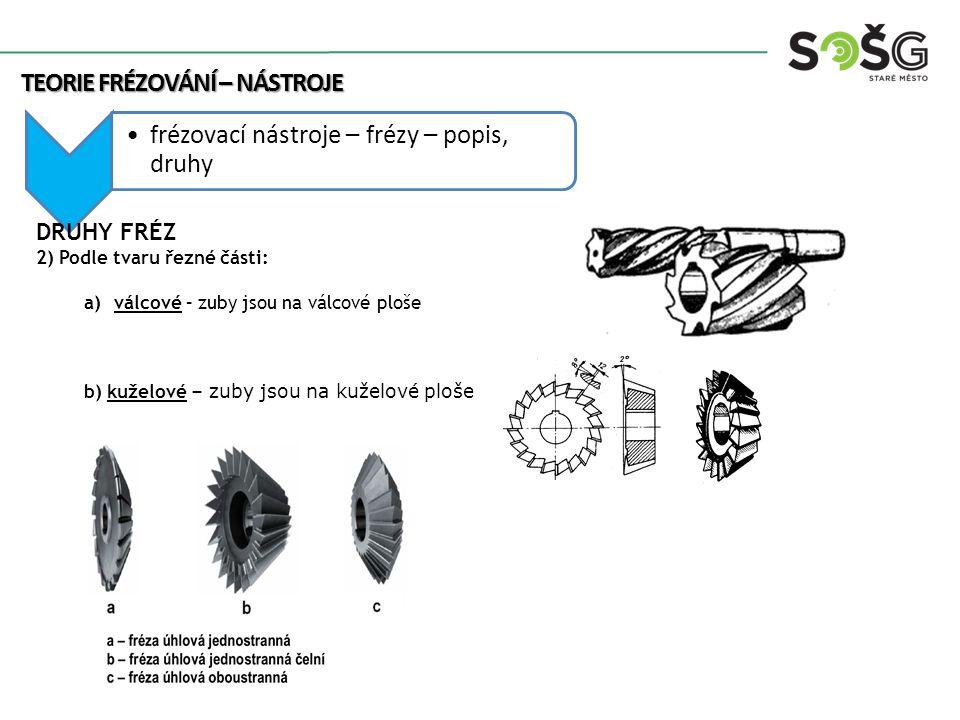 frézovací nástroje – frézy – popis, druhy TEORIE FRÉZOVÁNÍ – NÁSTROJE DRUHY FRÉZ 2) Podle tvaru řezné části: a)válcové – zuby jsou na válcové ploše b)