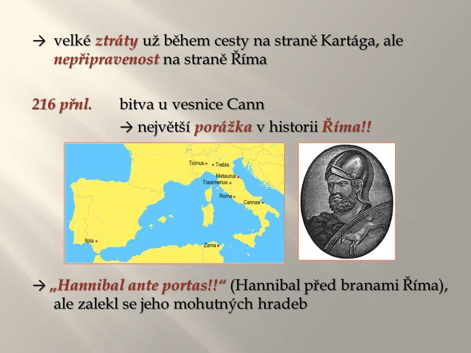 → velké ztráty už během cesty na straně Kartága, ale nepřipravenost na straně Říma 216 přnl. bitva u vesnice Cann → největší porážka v historii Říma!!
