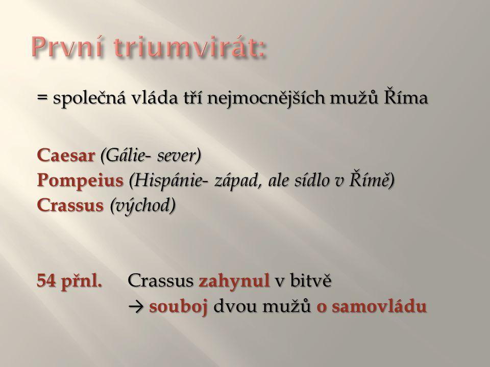 = společná vláda tří nejmocnějších mužů Říma Caesar (Gálie- sever) Pompeius (Hispánie- západ, ale sídlo v Římě) Crassus (východ) 54 přnl. Crassus zahy