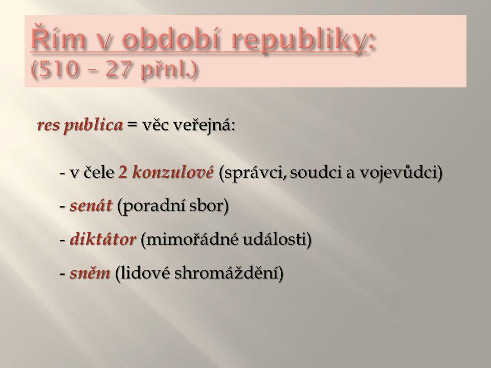 res publica = věc veřejná: - v čele 2 konzulové (správci, soudci a vojevůdci) - senát (poradní sbor) - diktátor (mimořádné události) - sněm (lidové sh