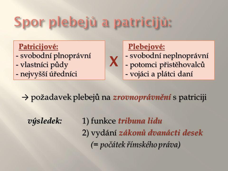 → požadavek plebejů na zrovnoprávnění s patriciji výsledek:1) funkce tribuna lidu 2) vydání zákonů dvanácti desek (= počátek římského práva) Patricijo