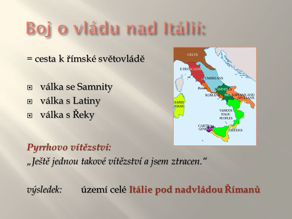 """→ překročil se svou armádou řeku Rubikon : """"Alea iacta est! (""""Kostky jsou vrženy ) → Pompeius uprchl do Egypta, kde byl zabit → Caesar ovládl Egypt, do jeho čela dosadil Kleopatru → 45 přnl."""