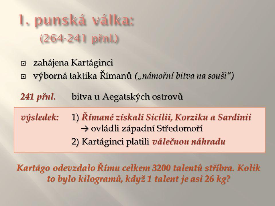 """ zahájena Kartáginci  výborná taktika Římanů (""""námořní bitva na souši"""") 241 přnl. bitva u Aegatských ostrovů výsledek: 1) Římané získali Sicílii, Ko"""