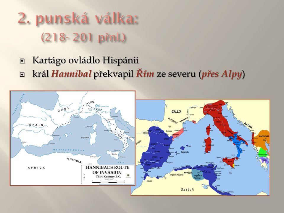  Kartágo ovládlo Hispánii  král Hannibal překvapil Řím ze severu ( přes Alpy )