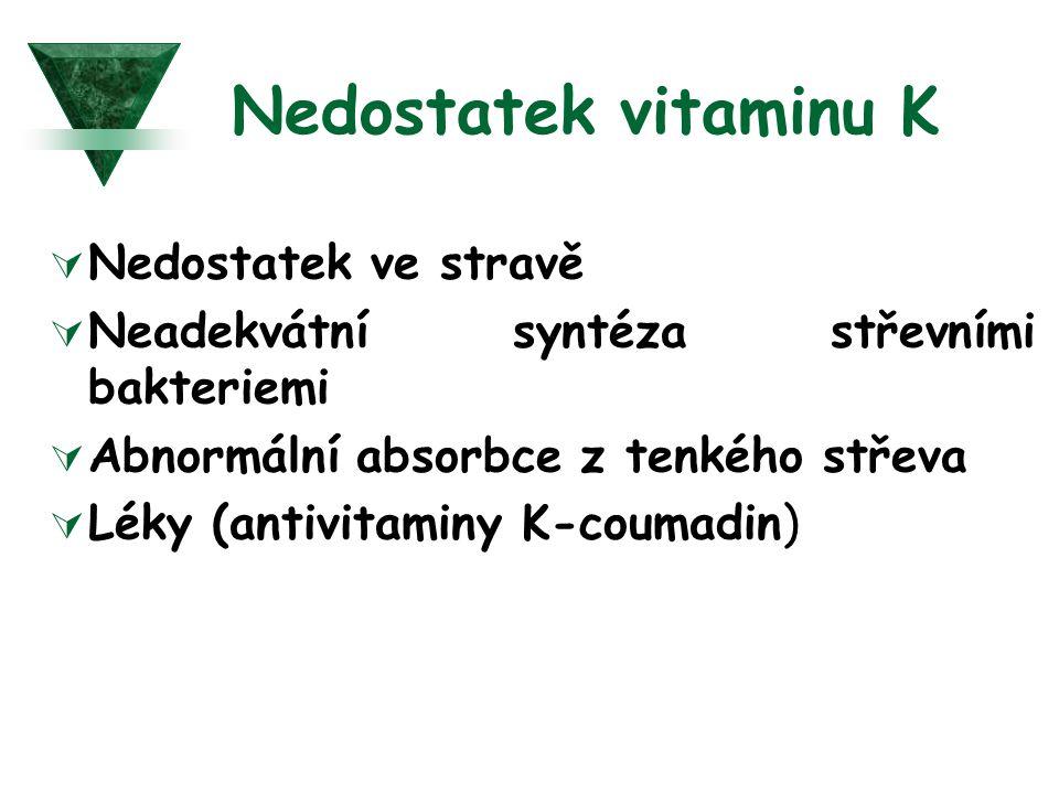 Nedostatek vitaminu K  Nedostatek ve stravě  Neadekvátní syntéza střevními bakteriemi  Abnormální absorbce z tenkého střeva  Léky (antivitaminy K-