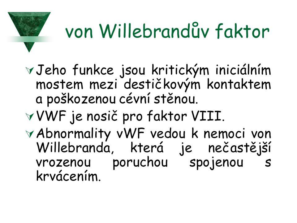 von Willebrandův faktor  Jeho funkce jsou kritickým iniciálním mostem mezi destičkovým kontaktem a poškozenou cévní stěnou.