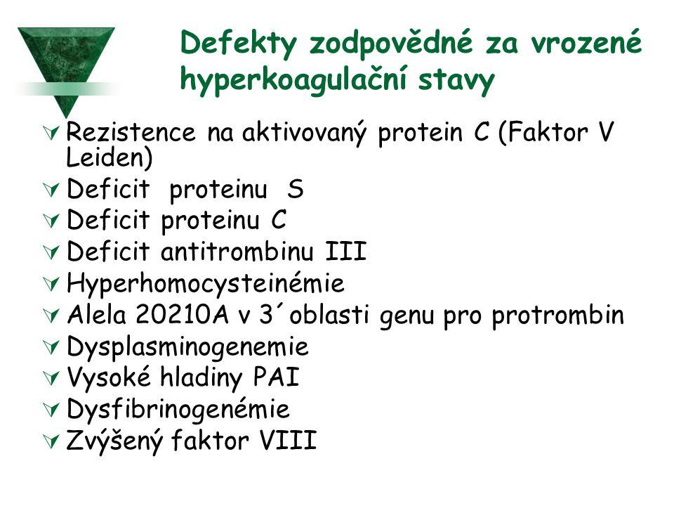 Defekty zodpovědné za vrozené hyperkoagulační stavy  Rezistence na aktivovaný protein C (Faktor V Leiden)  Deficit proteinu S  Deficit proteinu C 