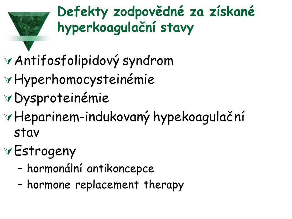 Defekty zodpovědné za získané hyperkoagulační stavy  Antifosfolipidový syndrom  Hyperhomocysteinémie  Dysproteinémie  Heparinem-indukovaný hypekoagulační stav  Estrogeny –hormonální antikoncepce –hormone replacement therapy