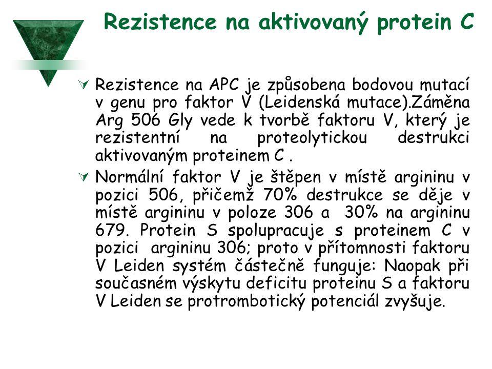 Rezistence na aktivovaný protein C  Rezistence na APC je způsobena bodovou mutací v genu pro faktor V (Leidenská mutace).Záměna Arg 506 Gly vede k tv