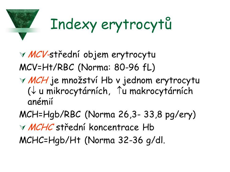 Indexy erytrocytů  MCV-střední objem erytrocytu MCV=Ht/RBC (Norma: 80-96 fL)  MCH je množství Hb v jednom erytrocytu (  u mikrocytárních,  u makro