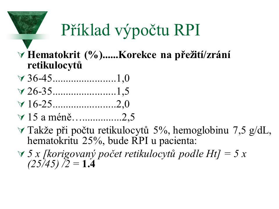 Příklad výpočtu RPI  Hematokrit (%)......Korekce na přežití/zrání retikulocytů  36-45........................1,0  26-35........................1,5