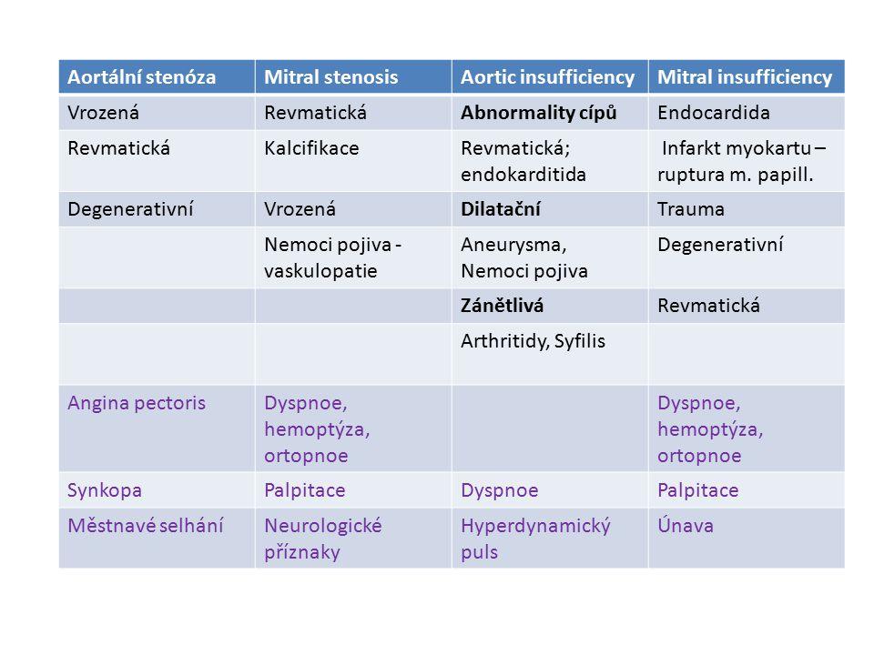 Aortální stenózaMitral stenosisAortic insufficiencyMitral insufficiency VrozenáRevmatickáAbnormality cípůEndocardida RevmatickáKalcifikaceRevmatická;
