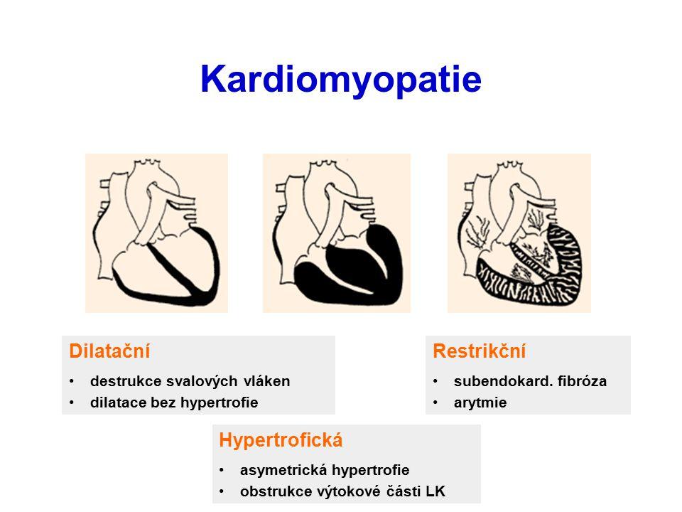 Sekundární: infekční bakteriální virové (coxsackie) rickettsia mykotické parasitární (Chagas dis.) toxické ( alcohol, Co, narcotics, psychofarmacs, adriamycin, prokainamid ) endocrinní / metabolické (↓T4, ↑T4, ↑GH, uremia, Fe, ↓vit.B1, K, Mg) alergie, autoimunita (imunokomplexy, SLE, sarkoidosa…) KMP
