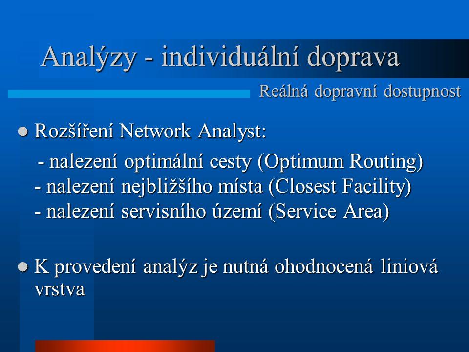 Analýzy - individuální doprava Rozšíření Network Analyst: Rozšíření Network Analyst: - nalezení optimální cesty (Optimum Routing) - nalezení nejbližšího místa (Closest Facility) - nalezení servisního území (Service Area) - nalezení optimální cesty (Optimum Routing) - nalezení nejbližšího místa (Closest Facility) - nalezení servisního území (Service Area) K provedení analýz je nutná ohodnocená liniová vrstva K provedení analýz je nutná ohodnocená liniová vrstva Reálná dopravní dostupnost