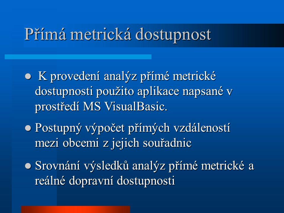 Přímá metrická dostupnost K provedení analýz přímé metrické dostupnosti použito aplikace napsané v prostředí MS VisualBasic. K provedení analýz přímé