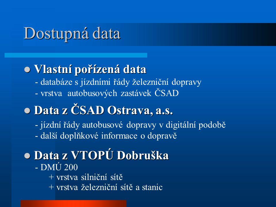 Dostupná data Vlastní pořízená data Vlastní pořízená data - databáze s jízdními řády železniční dopravy - vrstva autobusových zastávek ČSAD Data z ČSA