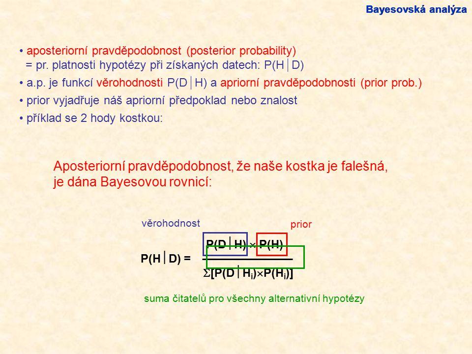 Aposteriorní pravděpodobnost, že naše kostka je falešná, je dána Bayesovou rovnicí: Bayesovská analýza aposteriorní pravděpodobnost (posterior probabi