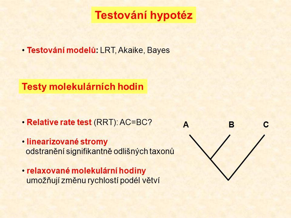 Testování hypotéz Testování modelů: LRT, Akaike, Bayes Testy molekulárních hodin Relative rate test (RRT): AC=BC? linearizované stromy odstranění sign