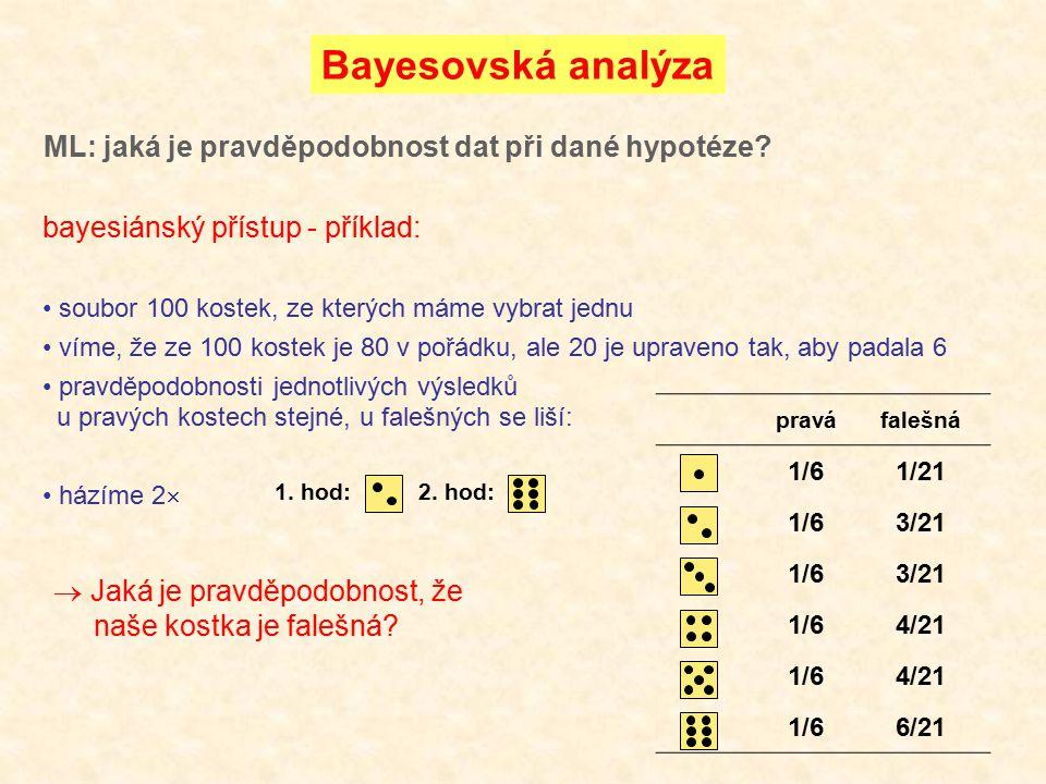 Bayesovská analýza ML: jaká je pravděpodobnost dat při dané hypotéze? bayesiánský přístup - příklad: soubor 100 kostek, ze kterých máme vybrat jednu v