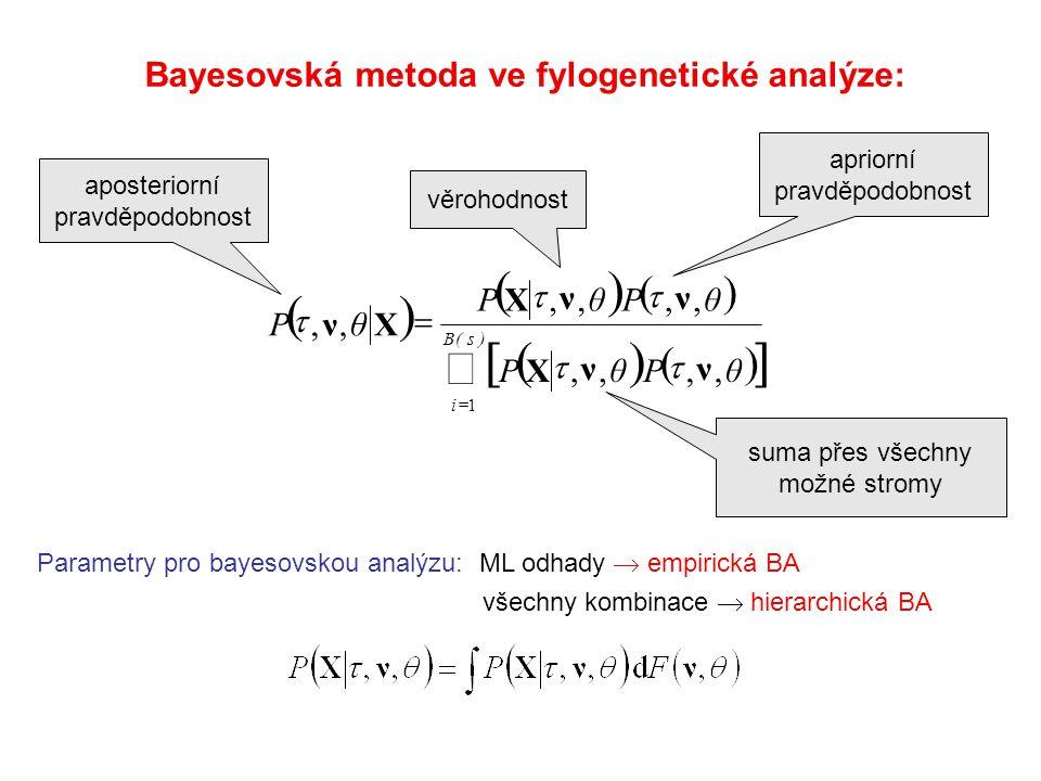          )s(B i θPθP θPθP θP 1,,,,,,,,,, νν X νν X Xν    Bayesovská metoda ve fylogenetické analýze: Parametry pro bayesovskou analýzu: ML odhady  empirická BA všechny kombinace  hierarchická BA věrohodnost apriorní pravděpodobnost suma přes všechny možné stromy aposteriorní pravděpodobnost