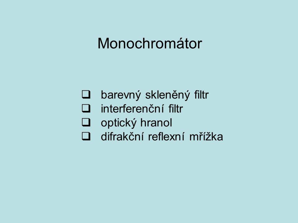 Monochromátor  barevný skleněný filtr  interferenční filtr  optický hranol  difrakční reflexní mřížka