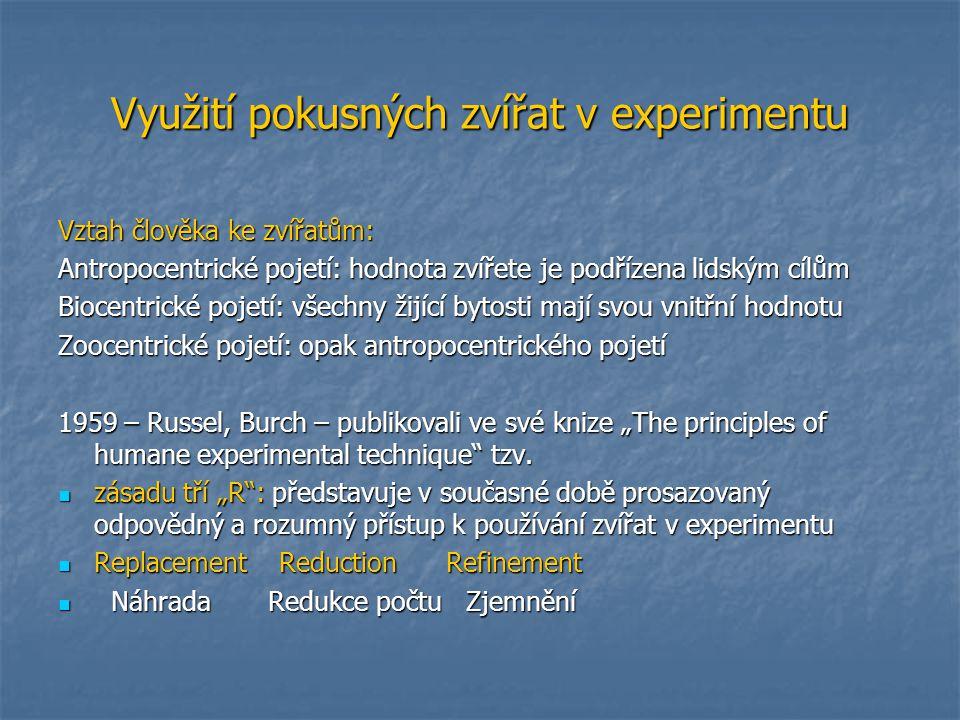 Využití pokusných zvířat v experimentu Vztah člověka ke zvířatům: Antropocentrické pojetí: hodnota zvířete je podřízena lidským cílům Biocentrické poj