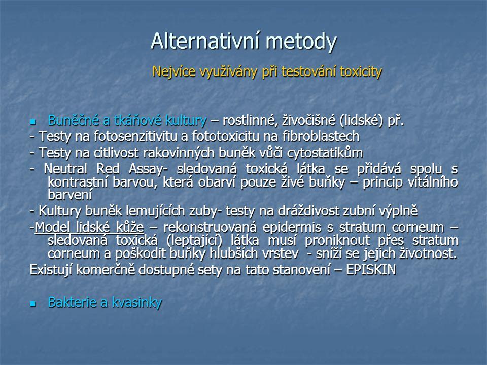 Další možnosti alternativních metod Počítačové modely Počítačové modely Neinvazivní zobrazování(CT, MNR, Neinvazivní zobrazování(CT, MNR, Kuřecí embrya – testy terotogenity Kuřecí embrya – testy terotogenity Placenty (model pro mikrochirurgii, transport léků) Placenty (model pro mikrochirurgii, transport léků) Výzkum populace (strava – ateroskleróza) Výzkum populace (strava – ateroskleróza) Využití bezobratlých Využití bezobratlých – nítěnky – toxicita LD 50, hodnotí se pohyb živočicha – nítěnky – toxicita LD 50, hodnotí se pohyb živočicha Vajíčka drápatek na testy teratogenity Vajíčka drápatek na testy teratogenity