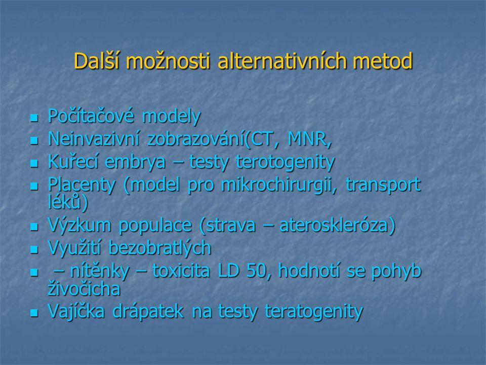 Další možnosti alternativních metod Počítačové modely Počítačové modely Neinvazivní zobrazování(CT, MNR, Neinvazivní zobrazování(CT, MNR, Kuřecí embry
