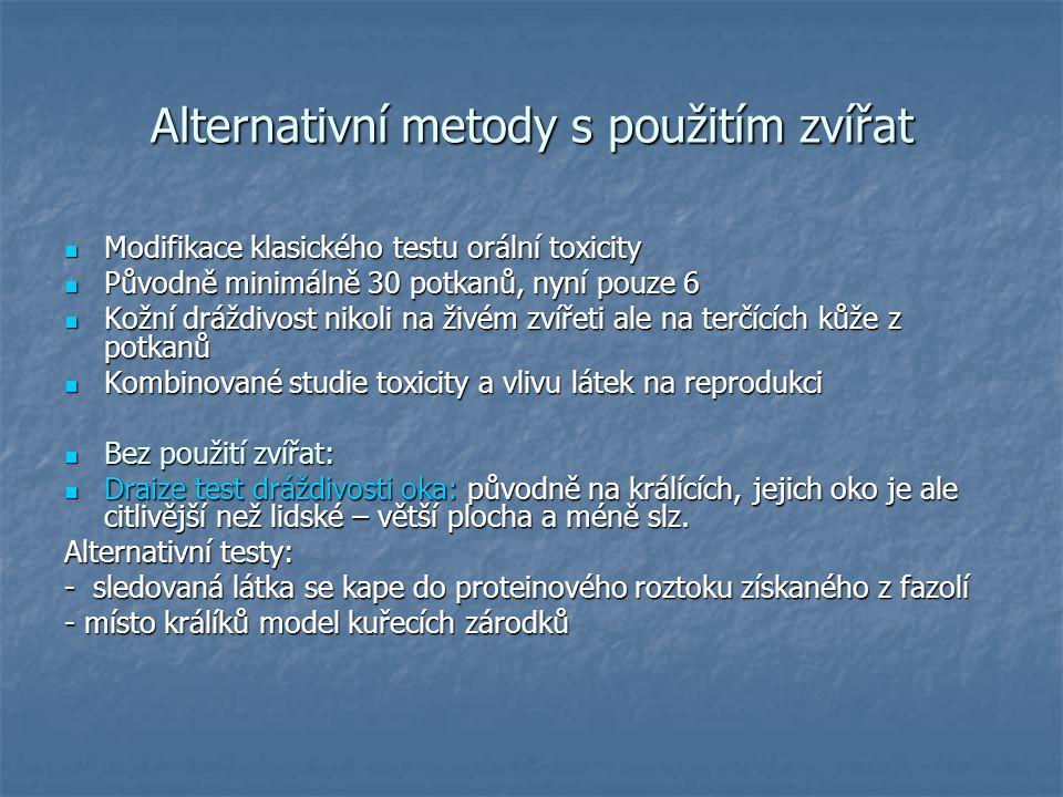 Alternativní metody s použitím zvířat Modifikace klasického testu orální toxicity Modifikace klasického testu orální toxicity Původně minimálně 30 pot