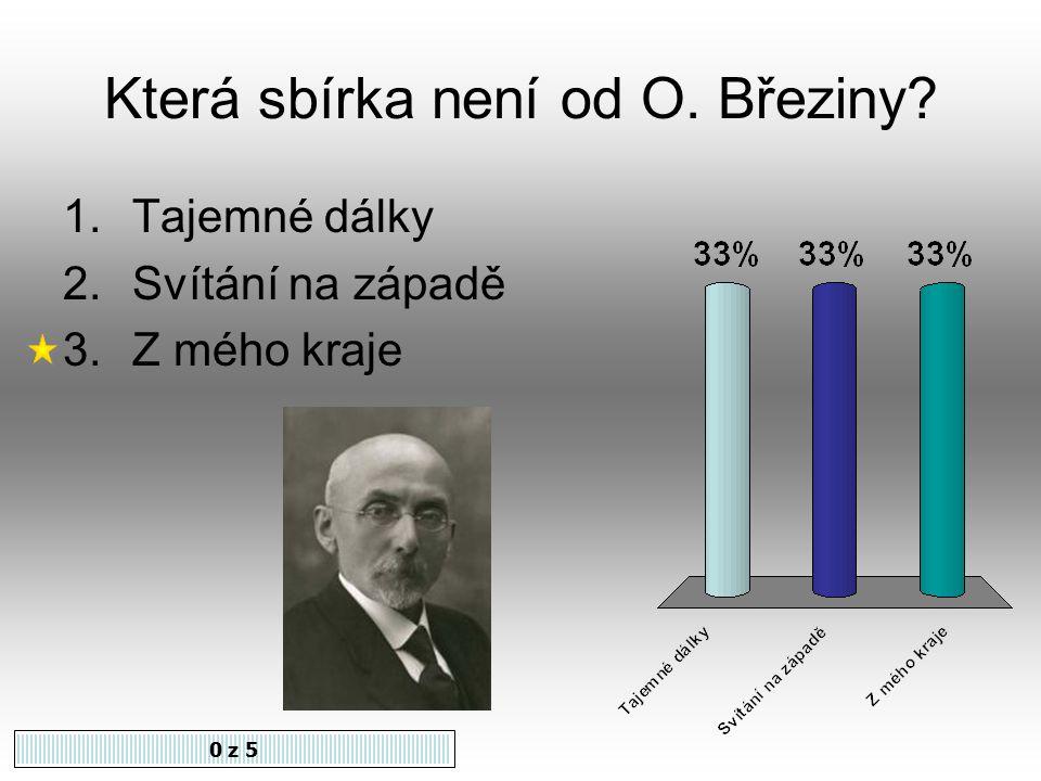 Otokar Březina byl vl. jménem Karel Jebavý. Souhlasíte 1.Ano 2.Ne 0 z 5