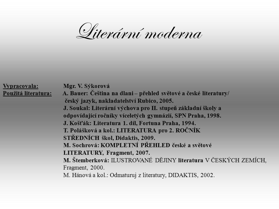Literární moderna Vypracovala: Mgr.V. Sýkorová Použitá literatura: A.