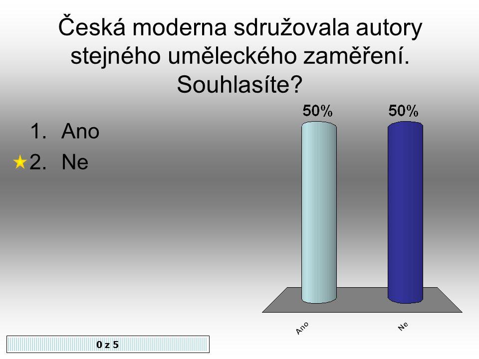 Česká moderna sdružovala autory stejného uměleckého zaměření. Souhlasíte? 1.Ano 2.Ne 0 z 5